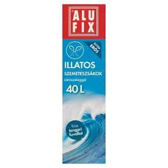 Alufix 40 literes friss tengeri fuvallat illatú szemeteszsákok zárószalaggal 12 db