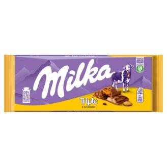 Milka Triple á la Caramel Alpine Milk Chocolate with Milk Cream, Filling and Almond Pieces 90 g