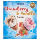 Tesco Strawberry Ice Cream with Sauce and Vanilla Ice Cream with Chocolate Sauce in Cones 6 x 120 ml