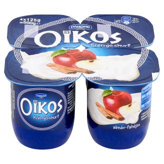 Danone Oikos Görög Apple-Cinnamon Flavoured Cream Yoghurt with Live Cultures 4 x 125 g
