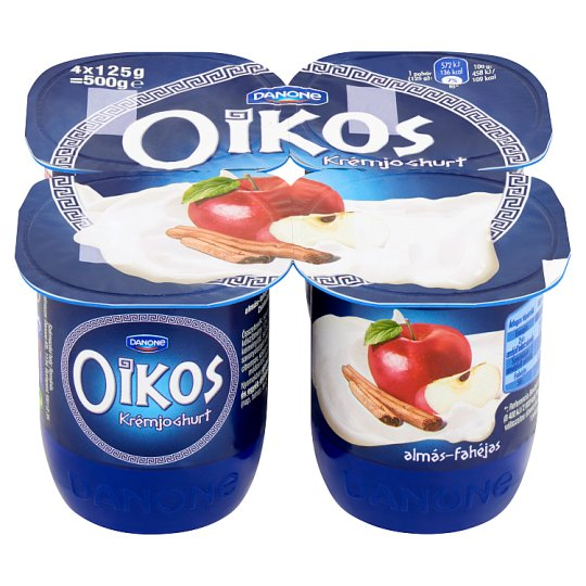 Danone Oikos Görög Apple-Cinnamon Flavoured Cream Yoghurt with Live Cultures 4 x 125 g