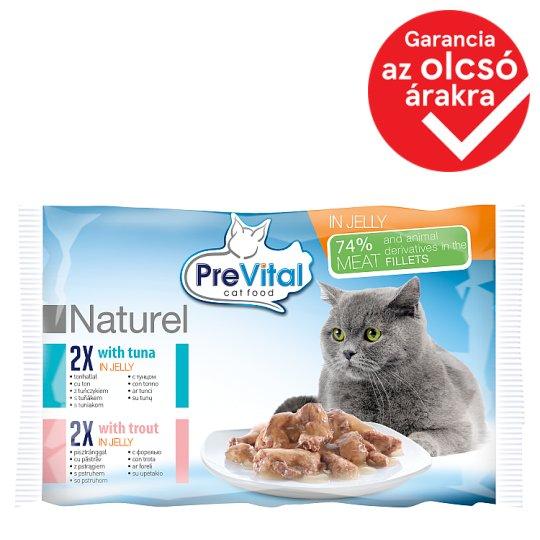 PreVital Naturel Alutaskos állateledel felnőtt macskáknak tonhallal és pisztránggal zselés 4 x 85 g