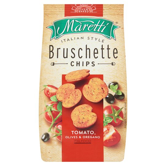 Maretti Bruschette Baked Bread Circles with Tomato, Olives and Oregano Flavour 70 g