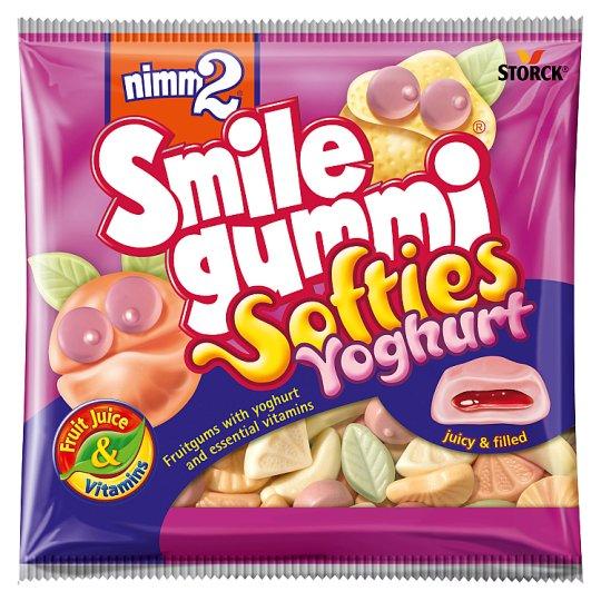 nimm2 Smilegummi Softies Yoghurt puha vegyes gyümölcs ízű joghurtos töltött gumicukorka 90 g