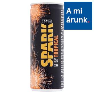 Tesco Spark szénsavas trópusi gyümölcs ízű energiaital cukorral és édesítőszerrel 250 ml