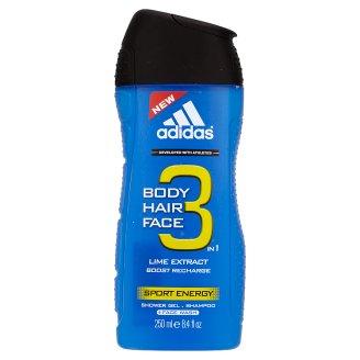 adidas Hair & Body 3 az 1 Sport Energy férfi tusfürdő és sampon 250 ml