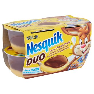 Nestlé Nesquik Duo Chocolate and Vanilla Flavoured Pudding 4 x 70 g
