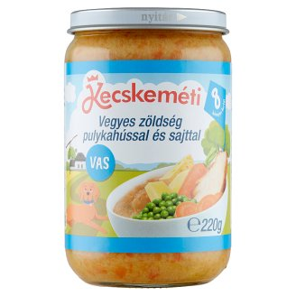 Kecskeméti Gluten-Free Mixed Vegetables with Turkey and Cheese 8+ Months 220 g
