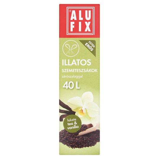 Alufix 40 literes fekete tea & vanília illatú szemeteszsákok zárószalaggal 12 db