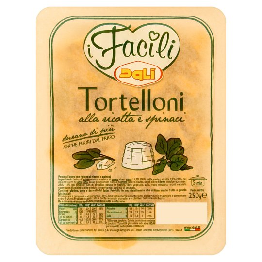 Dalì i Facili Tortelloni Egg Based Pasta Filled with Ricotta Cheese-Spinach Filling 250 g