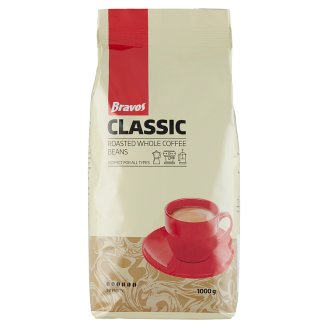 Bravos Classic Roasted Whole Coffee Beans 1000 g