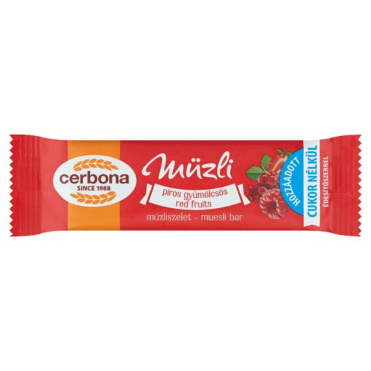 image 1 of Cerbona Red Fruits Cereal Bar with No Added Sugar and with Sweeteners 20 g
