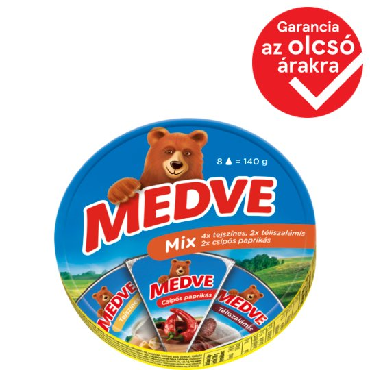 Medve Cheese Selection Semi-Fat Processed Cheese Spread 8 pcs 140 g