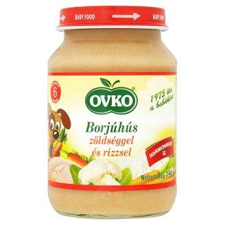 Ovko glutén- és tejszármazékmentes borjúhús zöldséggel és rizzsel bébiétel 6 hónapos kortól 190 g