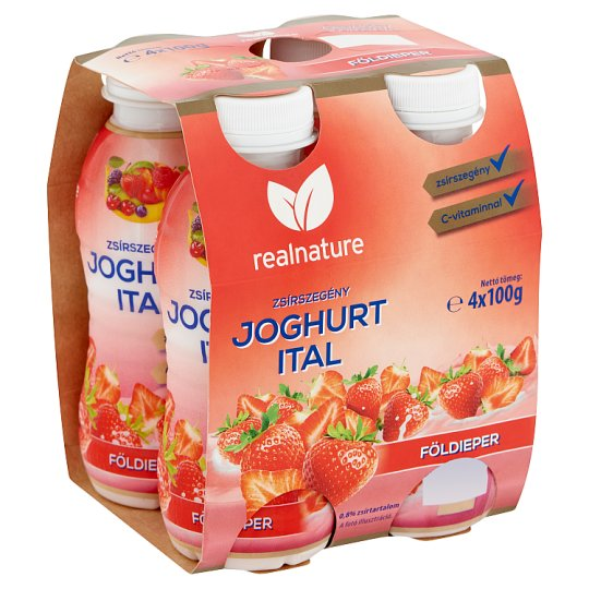 Real Nature Strawberry Low-Fat Yoghurt Drink 4 x 100 g