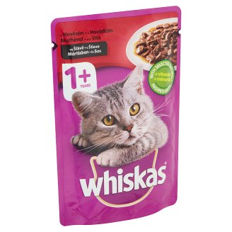 Whiskas Complete Pet Food for Adult Cats with Beef in Sauce 100 g
