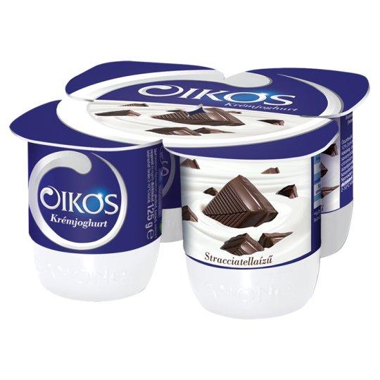 Danone Oikos Görög Stracciatella Flavoured Cream Yoghurt with Live Cultures 4 x 125 g