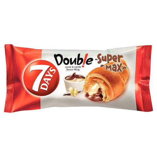 7DAYS Doub!e Super Max Croissant with Cocoa and Vanilla Flavour Filling 110 g