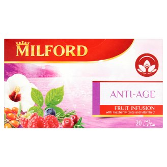 Milford Fruit Infusion Anti-Age Flavoured Tea with Raspberry Taste and Vitamin C 20 Tea Bags 40 g