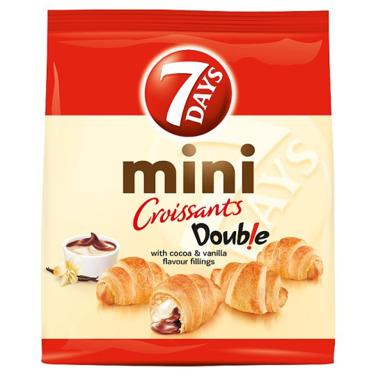 7DAYS Mini Croissants Doub!e Mini Croissants with Cocoa & Vanilla Flavour Fillings 200 g