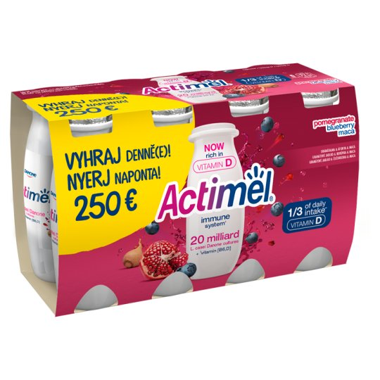 Danone Actimel Low-Fat Pomegranate-Maca-Blueberry Flavour Yoghurt Drink with Live Cultures 8 x 100 g