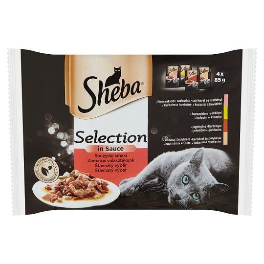 Sheba Zamatos Válogatás teljes értékű állateledel felnőtt macskák számára 4 x 85 g