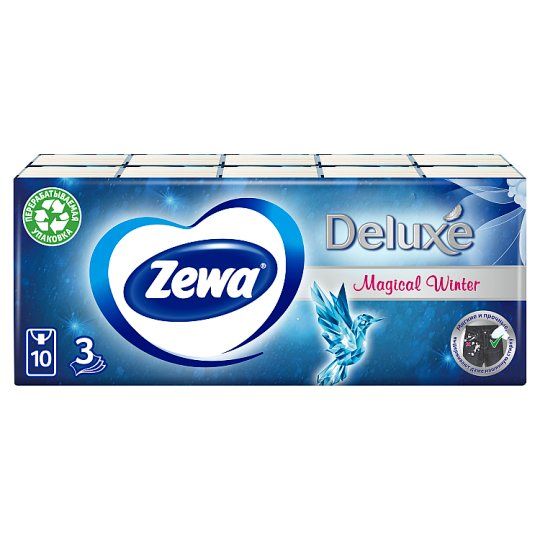 Zewa Deluxe Limited Edition Unscented Handkerchiefs 3 Ply 10 x 10 pcs