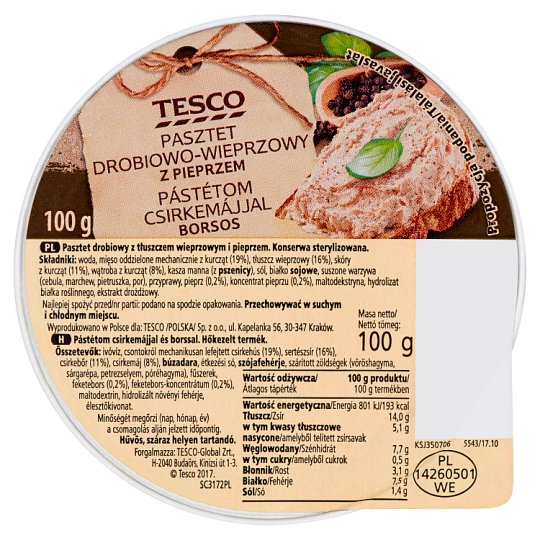 Tesco Pate with Chicken Liver and Pepper 100 g