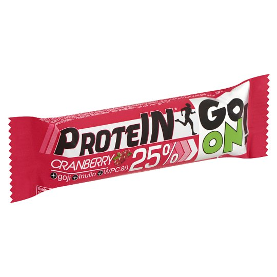Protein Go On! High-Protein Cranberry Bar with Goji Berries and Inulin in Milk Chocolate 50 g