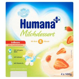 Humana Plus Strawberry Flavoured Milk Dessert 8+ Months 4 x 100 g
