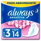 Always Ultra Sensitive Night Egészségügyi Betét (3-as Méret), 14 db