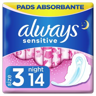 Always Sensitive Night Ultra (Size 3) Sanitary Towels  Wings 14 Pads