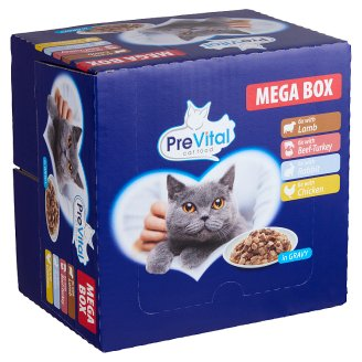 PreVital Mega Box Complete Pet Food for Adult Cats in Gravy with 3 Tastes 24 x 100 g