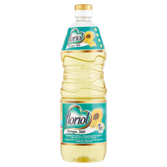 Floriol Refined Sunflower Cooking Oil with Natural Omega-3 and Omega-6 1 l