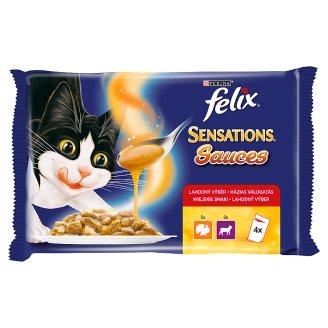 Felix Sensations teljes értékű állateledel pulykával és báránnyal felnőtt macskák számára 4 x 100 g