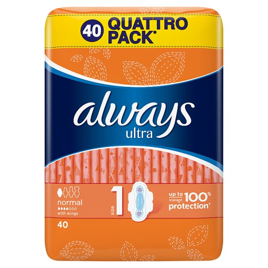 Always Ultra Normal (Size 1) Sanitary Towels Wings 40 Pads
