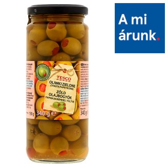 Tesco Green Olives Filled with Paprika Cream 340 g