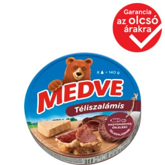 Medve Spreadable Processed Semi-Fat Cheese with Winter Salami 8 pcs 140 g