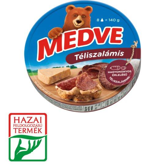 Medve téliszalámis kenhető, félzsíros ömlesztett sajt 8 db 140 g