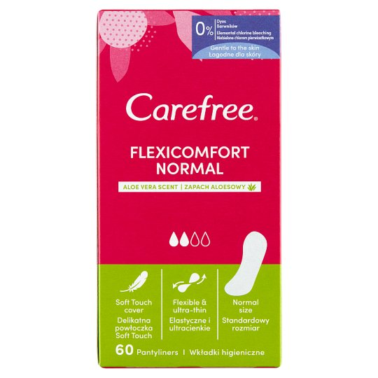 Carefree FlexiComfort Pantyliners with Aloe Extract 60 pcs