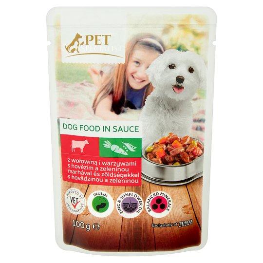 Tesco Pet Specialist teljes értékű állateledel felnőtt kutyák számára marhával és zöldséggel 100 g