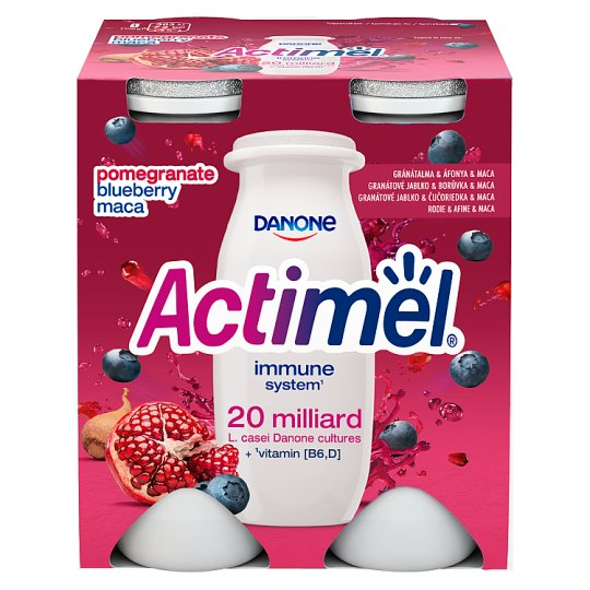 Danone Actimel Low-Fat Pomegranate-Maca-Blueberry Flavour Yoghurt Drink with Live Cultures 4 x 100 g