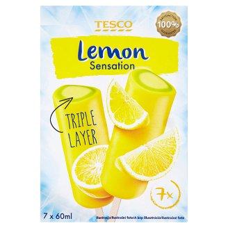 Tesco Lemon Sensation Water Ice Cream with Lemon and Lime, Lime Flavoured Ice Cream 7 pcs 420 ml