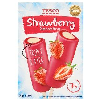 Tesco Strawberry Sensation Triple Layer epres vizes jégkrém és vanília jégkrém 7 db 420 ml