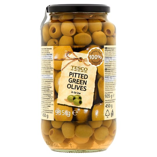 Tesco Pitted Green Olives in Brine 935 g