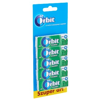 Orbit Spearmint Sugar-Free Mint Flavoured Chewing Gums with Sweetener 5 x 14 g