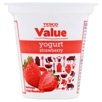 Tesco Value Strawberry Flavoured Low-Fat Yoghurt 125 g