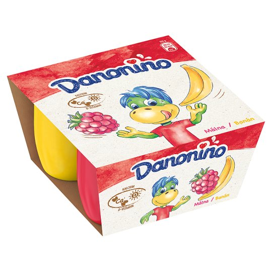 Danone Danonino banános és málnás tejtermék hozzáadott kalciummal és D-vitaminnal 4 x 50 g