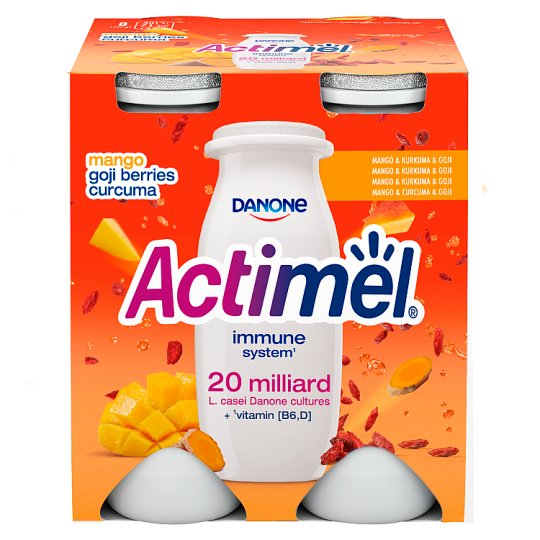 Danone Actimel Low-Fat Mango-Curcuma-Goji Berry Flavoured Yoghurt Drink with Live Culture 4 x 100 g