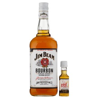 Jim Beam Bourbon Whiskey 40% 1 l + Jim Beam Red Stag Cherry Flavoured Alcoholic Drink 40% 0,05 l